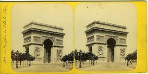 PARIS-Arc-de-Triomphe-de-l-039-Etoile-vue-stereo-photo-circa-1860