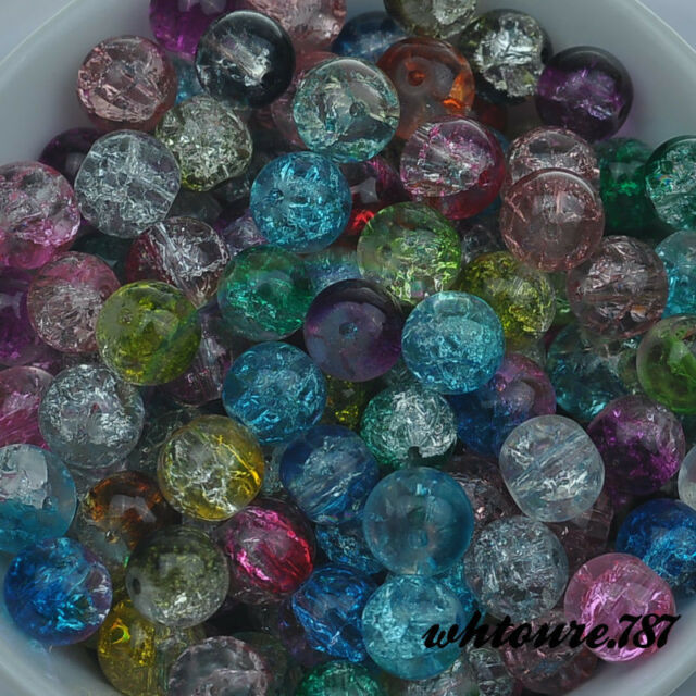 50 ~ 500Pcs 6MM 8MM 10MM COLOR MIXING Czech Glass Crystal Crackle Round Beads