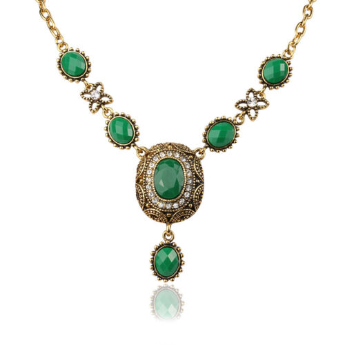 Party Jewelry Green//Red Oval Cubic Zircon Gold Plated Lady Girl Pendant Necklace