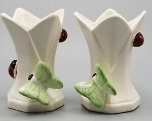 Vintage Omnibus Ceramic Candle Holder Bud Vase Decor Butterfly Ladybug Set Of 2 Ebay