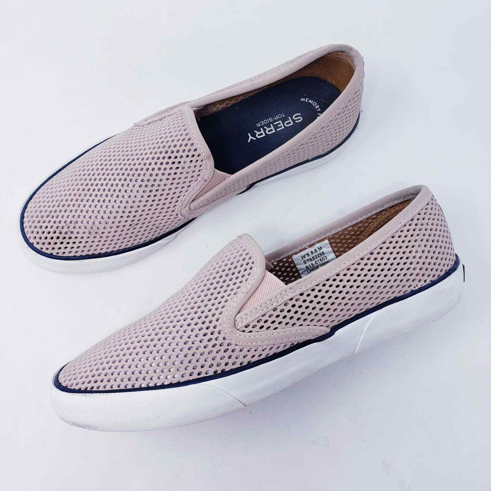 Sperry Women Size 8.5 Pier Side Perforated Leather Slip-On Sneaker Light Pink