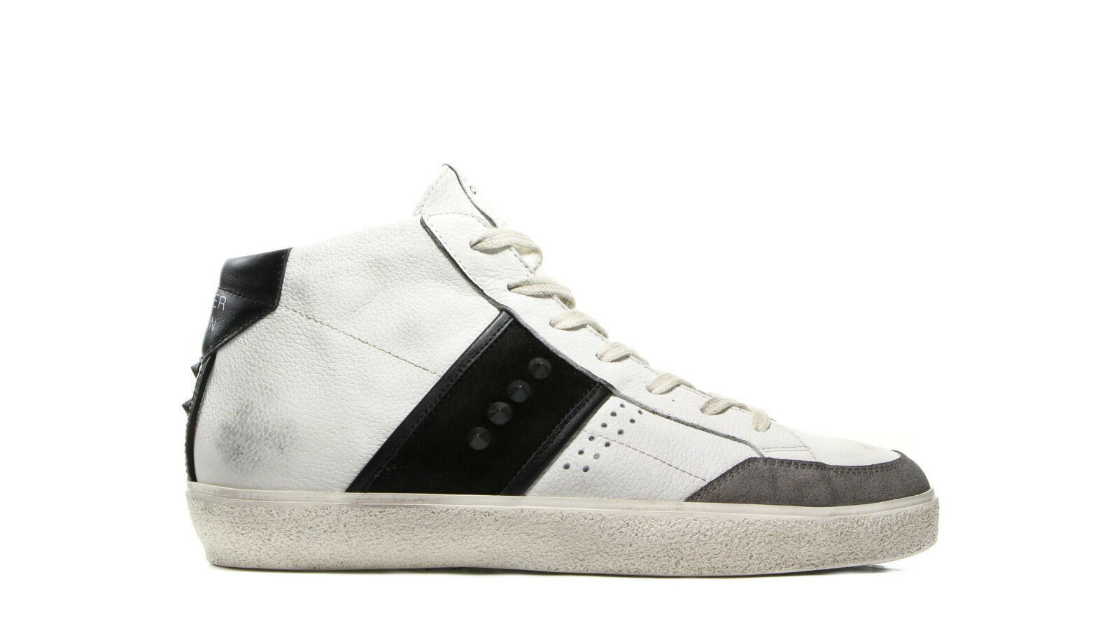 LEATHER CROWN SNEAKER UOMO  MLC177 IN PELLE BIANCA WINTER 2017 -30% !!!!!