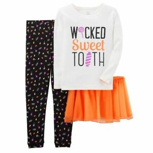 16ce34720119 Carters Toddler Halloween Tutu Legging Pajama Set Wicked Sweet Tooth ...