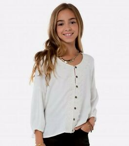 O'Neill DEVIN Girls Youth Button Up 3/4 Sleeve Top Medium Off White NEW