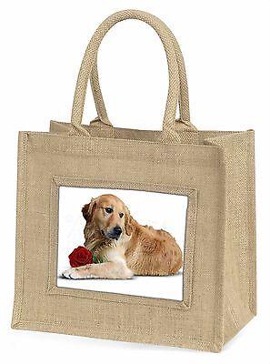 Golden Retriever mit Roter Rose Große Natürliche Jute-einkaufstasche Chris,