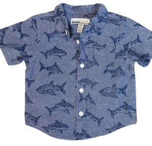 New-Kids-Headquarters-Baby-Boy-Shirt-6-9M-Button-Down-Short-Sleeve-Shark-Blue