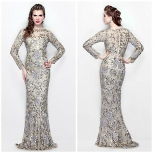 db199d4efb Image is loading NWT-PRIMAVERA-COUTURE-1401-LONG-SLEEVE-FLORALEMBLISHED-GOWN -