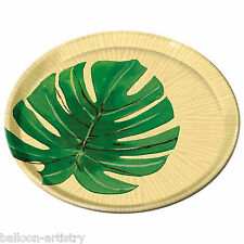 "2 x Tropical Island Palms Party Small 8"" Round Melamine Plastic Plates Leaf"