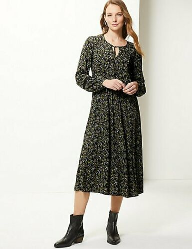 M/&S Marks Spencer Black Print Ditsy Floral Relaxed Long Sleeve Boho Midi Dress