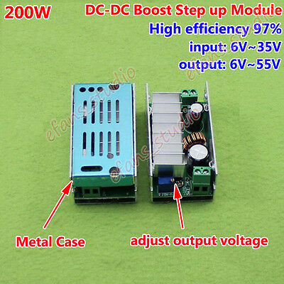 200W DC-DC Boost Step up Converter 6-35V to 6-55V 12V 24V 7A Power Supply Module