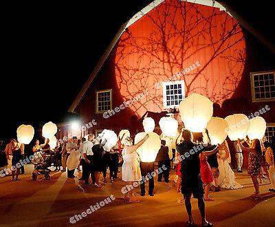 20 White Chinese Fire Flying Sky Paper Kongming Floating Wishing Lantern Wedding