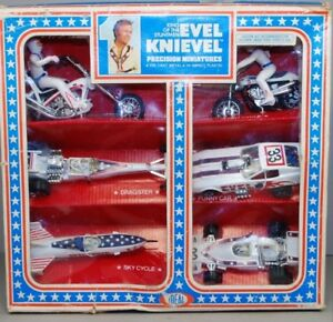 Evel-Knievel-1977-Ideal-MIB-Die-Cast-6-Six-Pack