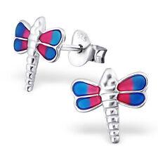 Childrens Kids Girls 925 Sterling Silver Dragon Fly Ear Stud-Free Gift Box