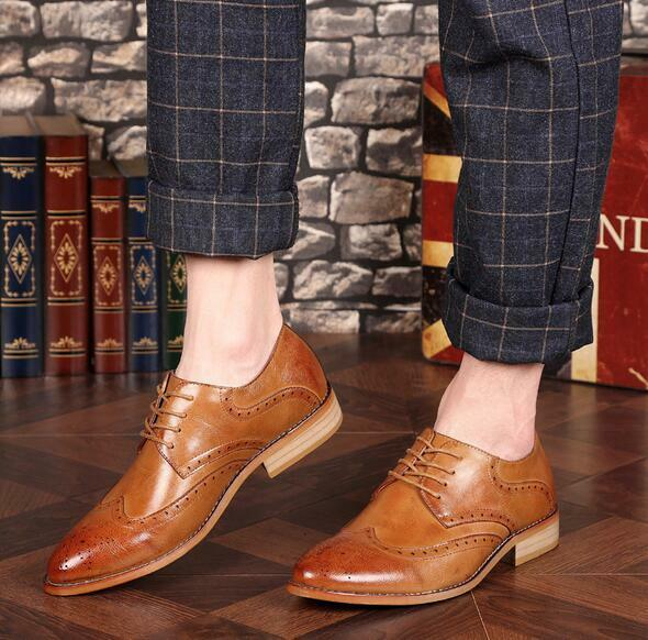 Men's Stylish Pointed Toe Wing Tip Leather Brogue Oxford Formal Dress shoes