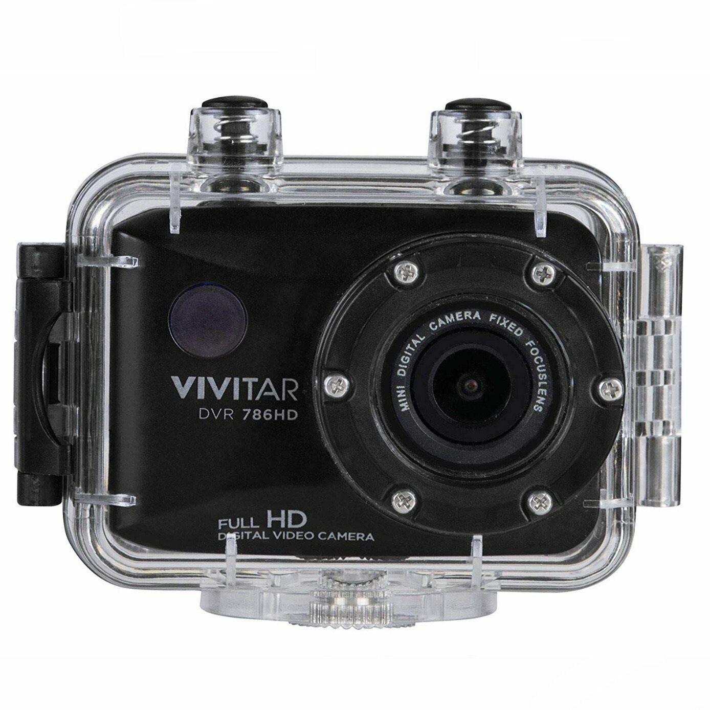 Vivitar DVR786HD 1080p HD Waterproof Action Camera + Helmet/Bike Mounts - Black 1080p action black camera dvr786hd mounts vivitar waterproof