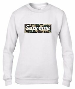 Felpa-DA-DONNA-da-girocollo-Fashion-SUPREME-FAKE-MILITARE