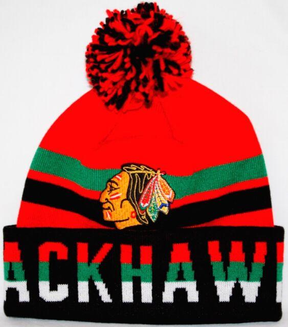 best sneakers ef375 12f9f Chicago Blackhawks Mitchell   Ness NHL Trifecta Premium Cuffed Knit Hat w   Pom
