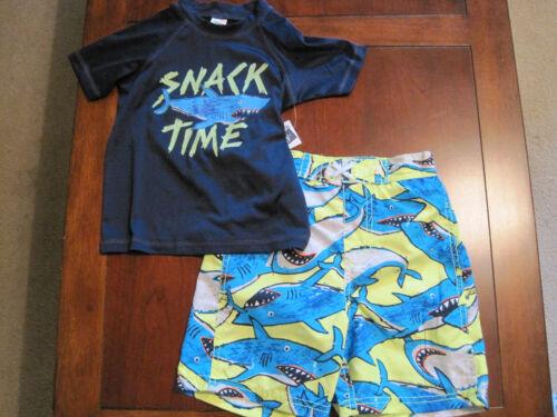 Swim Trunks Sz 4 New NWT Osk Kosh Boy Shark Rash Guard UV Protection Shirt