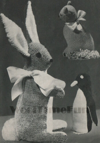 Bunny Rabbit Vintage Knitting Pattern 3 Toys Cat//Kitten /& Penguin.