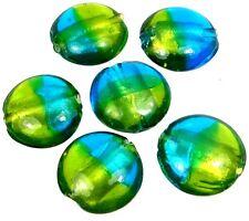 Lampwork Handmade Glass Beads Silver Foil See Green Blue Lentil (6)