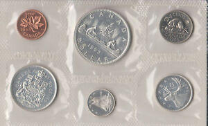 1965 Canada Sealed Proof Like Mint Set 6 Coins Total - 4 Silver Coins 80% 0.800