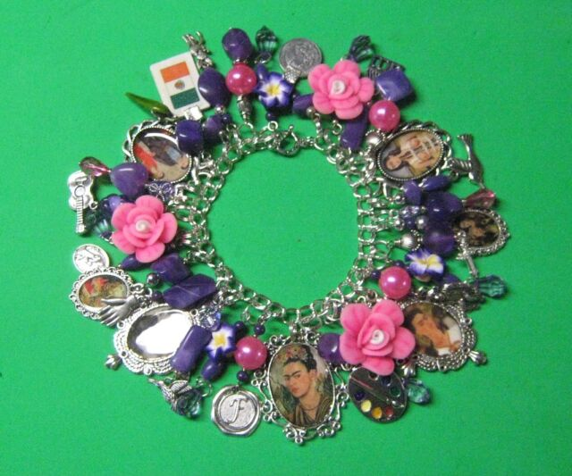 """VIVA LA FRIDA""-FRIDA KAHLO  OOAK ALTERED ART STATEMENT CHARM BRACELET"