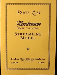 1929 Henderson Motor Cycle Parts List Four Cylinder Streamline Model Illustrated