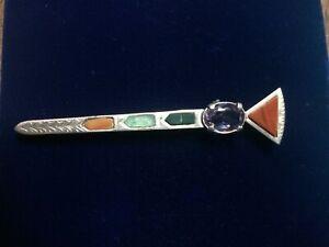 KO629 Vintage 1950s silver Scottish sword /& targe brooch