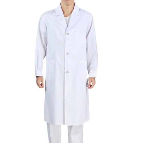Unisex White Lab Coat Medical Doctor Coat Long Jacket Nursing Clothes Long Coat