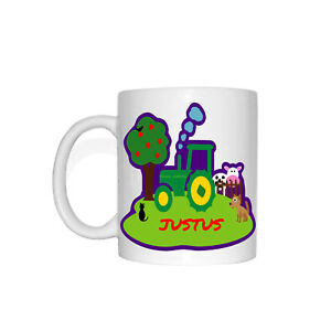justus children cup farm tractor child name dog cat cow  ebay