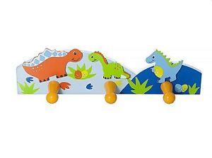 Mousehouse Dinosaur Children's Triple Coat Hook for Boys Nursery or Bedroom