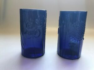 2-VINTAGE-ARABIA-OF-FINLAND-GLASS-BLUE-OR-VIOLET-DRINKING-GLASSES-4-5-034-TALL