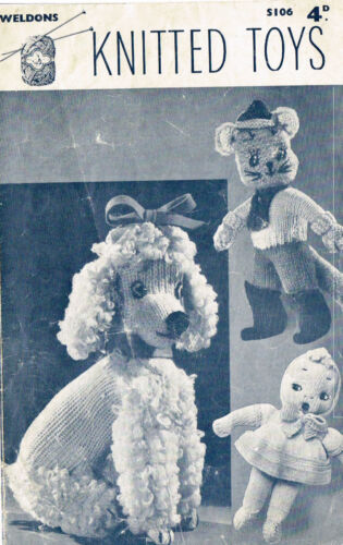 Laminated copy. Knitted Poodle Puss in boots /& Rag Doll in knitting pattern