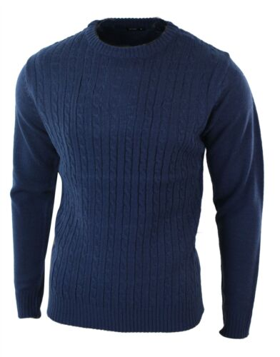 Mens Wool Texture Cable Knit Tailored Fit Jumper Knitted Smart Casual Retro