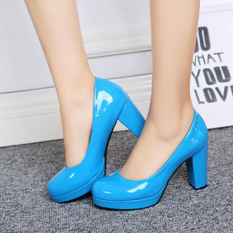 Ladies Court shoes Block Heels Slip on Patent Leather Womens OL Party shoes  NEW