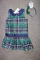 Gymboree Girls Green & Navy Plaid Dress & Hair Bow - Size 5 -