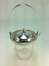 ANTIQUE WEBSTER STERLING SILVER CONDIMENT/HONEY POT, JAM JAR  GRAPE ETCHED GLASS