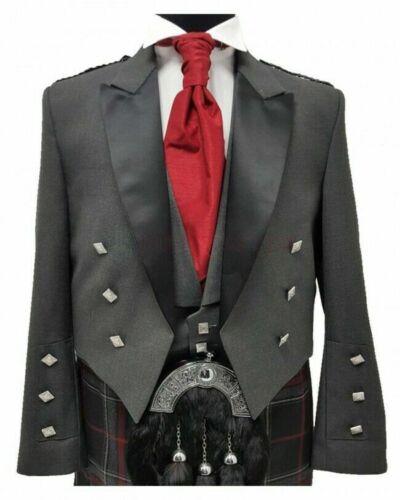 Details about  /Scottish Grey Prince Charlie Jacket with Vest 100/% Wool Custom Made Kilt Jacket
