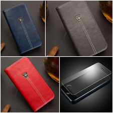 Luxury Leather Fashion Case iPhone 5 6 7 Plus Samsung Note Flip Wallet + GLASS