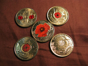 Canada-WWI-amp-WWII-Remembrance-Day-Complete-Set-Of-Poppy-25-Cent-Coins-A-Beauty