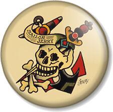 "Sailor Jerry Design Skull & Dagger 1"" 25mm Pin Button Badge Tattoo Retro Kitsch"