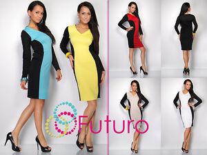 Lovely-Optical-Slimming-Women-039-s-Dress-V-Neck-Long-Sleeve-Sizes-10-16-FK1202