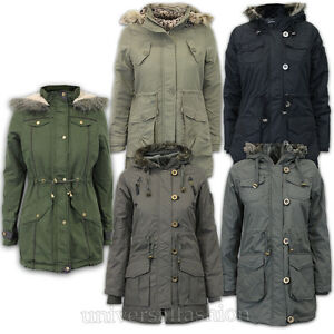 Ladies Jacket Brave Soul Womens Parka Coat Hooded Military Fur