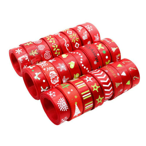 12Rolls Xmas Pattern Satin Ribbons Christmas Decoration Gift Wrapping Crafts