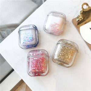Glitter Sequin Hard Cover Skin For Apple Airpods 1 2 Charging Case Quicksand Box Ebay