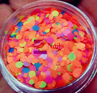 NEO MATTE Solvent Resistant Round 3D Nail Art Glitter Tips 1mm 2mm Mixed Orange
