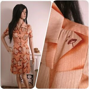 Vintage-70s-Peach-Satin-Novelty-Bird-Tree-Satin-A-line-Tea-Dress-40s-8-10-36
