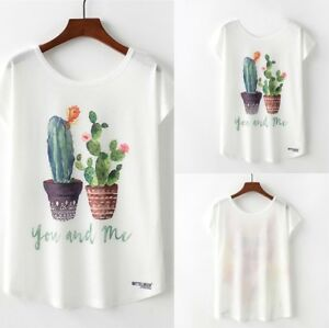 Summer-Women-039-s-Fashion-Cactus-Print-O-Neck-Short-Sleeve-Loose-T-shirt-Blouse-Top