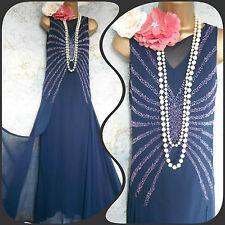 kaleidoscope blue sequin bead 20s deco gatsby flapper Vintage dress 12 40
