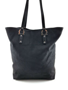 042523478cf4 Image is loading Salvatore-Ferragamo-Black-Canvas-Tote-Bag-Women-s